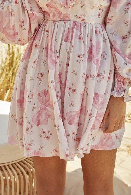 """Amalia - Sukienka z delikatnej, naturalnej logowanej tkaniny """"Lou Girls"""""""