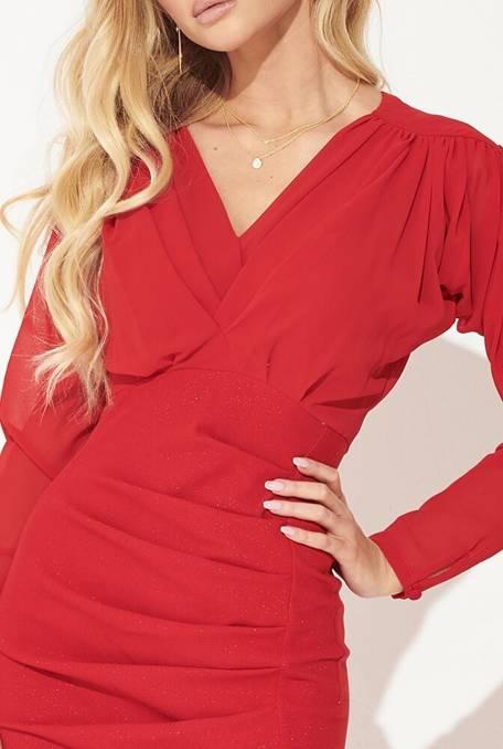 Nanette - Czerwona ołówkowa sukienka