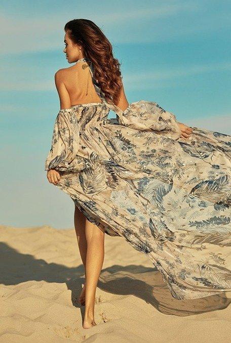 Raylli - Suknia o długości maxi ze zwiewnej, delikatnej tkaniny