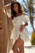 Solera - Sukienka w stylu boho w odcieniu bieli z haftowanej bawełny